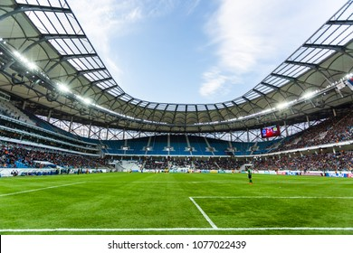 "21 April  2018, Volgograd, Russia. Football field - first test football match on the new stadium ""Volgograd arena"" built for the FIFA World Cup 2018."