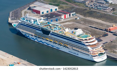 21 April 2019, IJmuiden, Holland. Aerial view of cruise ship AIDAluna at passengers terminal in IJmuiden.