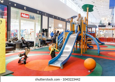 21 FEBRUARY 2018, MEGA MALL, UFA, RUSSIA: children's playground in the city shopping mall