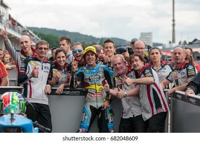 21, Franco MORBIDELLI, ITA, Kalex, EG 0.0 Marc VDS, Moto2 2017, GoPro Motorrad Grand Prix Deutschland, Race - Podium, 2017, Sachsenring, Germany , 02 July 2017, Moto2, Sachsenring Circuit