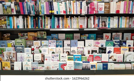 21 January 2020, Strasbourg - France: various books and notebooks available in the book section at the supermarket