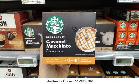 21 January 2020, Strasbourg - France: It is possible to find capsule coffees of various brands in supermarkets in Strasbourg