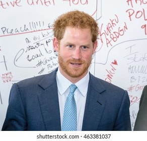 "21 July 2016, Durban, South Africa: Prince Harry of Wales by the ""Pro Test"" wall at the 2016 International AIDS Conference."