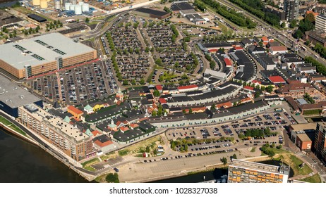 21 July 2017, Roermond, Holland. Aerial view of Mc Arthur Glen Designer Outlet, a famous outletcenter. A shopping mall with direct sales from manufacturer