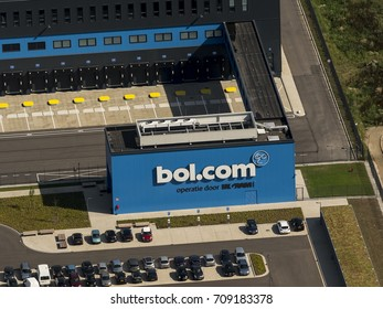 21 July 2017, Waalwijk, The Netherlands. Aerial view of the entrance of the new distribution center of Bol.com. A Dutch online shop, part of Ahold Delhaize.