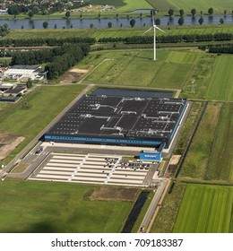 21 July 2017, Waalwijk, The Netherlands. Aerial view of the new distribution center of Bol.com. A Dutch online shop, part of Ahold Delhaize.
