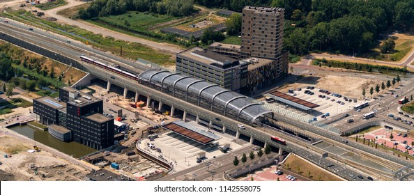 21 July 2018, Amsterdam, Holland. Aerial view of station North at the Noord Zuid Lijn. The subway line connects the North of Amsterdam with the South. It is a modern hub which was opened at 21 July 20