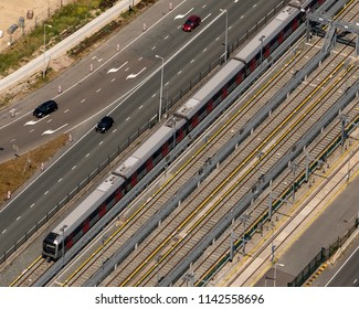 21 July 2018, Amsterdam, Holland. Aerial view of a train at station North at the Noord Zuid Lijn. The subway line connects the North of Amsterdam with the South.
