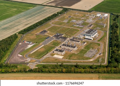21 July 2018, Middenmeer, Netherlands. Aerial view of a site of the Nederlandse Gasunie in the province of NOORD HOLLAND. Gas is being distributed via the 'gas roundabout'.