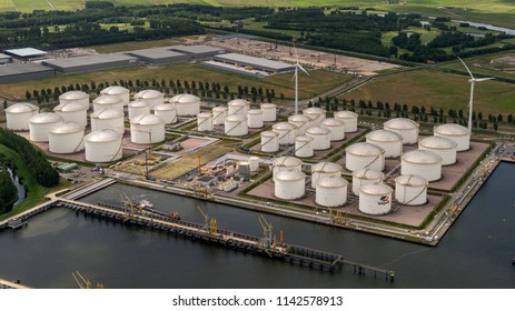 21 June 2018, Amsterdam, Holland. Aerial view of petrol industrial zone in the Afrikahaven. Vopak is a Dutch company that stores and handles various oil, chemicals, edible oils and natural gas.