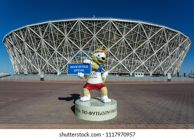 21 June 2018, Volgograd, Russia. Zabivaka in front of the football stadium Volgograd arena