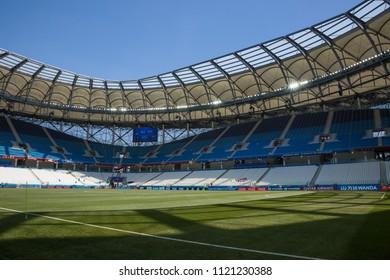 21 June 2018, Volgograd Russia. New football stadium Volgograd Arena ready for the FIFA World Cup 2018 match.