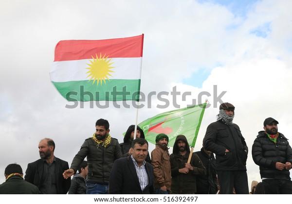 21 March 2015 - TURKEY. Flag of Iraqi Kurdistan and YPG.  Million of kurdish during Newroz festival on Diyarbakir.