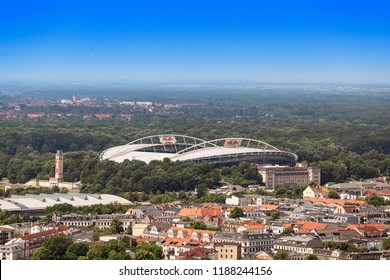 21 MAY 2018, LEIPZIG, GERMANY: Aerial cityscape view of Leipzig from observation point