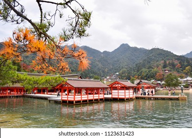 21 November 2016 Hiroshima, Japan.The tourists were walking on the terrace of Itsukushima shrine in autumn period. This shrine is located at Miyajima Island which considered as a holy site of Shinto.