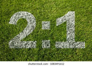 2:1 score on soccer meadow