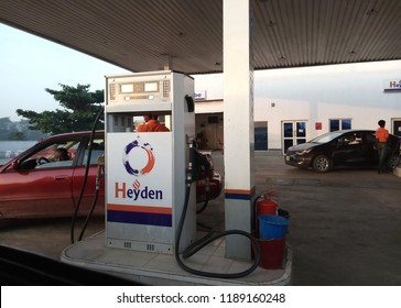 21 September 2018, Lagos Nigeria: A gas station located along the expressway close to Ogudu Ojota, Lagos.