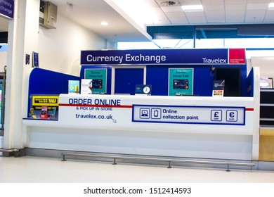21 September 2019 A Travelex Currency Exchange booth closed after hours at George Best Belfast city Airport Northern Ireland