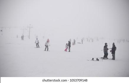 21.01.2018 Rzeczka, Poland, people on ski resort, bad weather