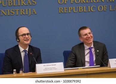 21.02.2018. RIGA, LATVIA. Press conference after Latvian minister of Foreign Affairs Edgars Rinkevics meeting with Albanian minister of Foreign Affairs Ditmir Bushati.