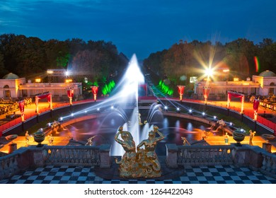 "21.09.18 Russia. Peterhof Fountain Festival ""Theatrical Novel"". View from the terrace to the Samson Fountain and the Grand Cascade"