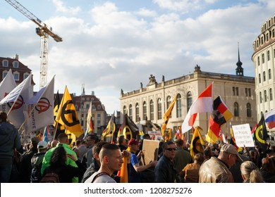 21/10/2018 DRESDEN Followers of the right-wing pegida movement on the occasion of the 4th anniversary.