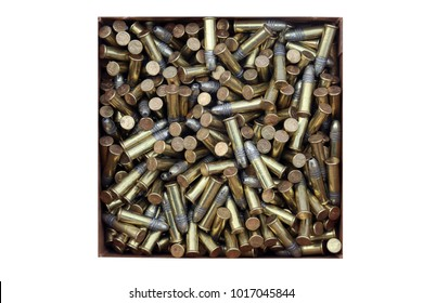 2-1-2018 Lake Forest CA: Remington 22 Long Rifle Brass Plated Hollow Point bullet package and shells isolated on white. Most Popular 22 Long Rifle ammunition.