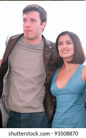 """21MAY99: Actor BEN AFFLECK & actress SALMA HAYEK at Cannes Film Festival to promote their new movie """"Dogma.""""  Paul Smith / Featureflash"""