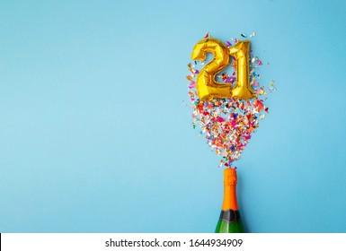 21st anniversary champagne bottle balloon pop