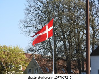 21st of April 2019 - Scene from Danish city with swallow-tailed flag in front of a group of trees, Aalborg, Denmark