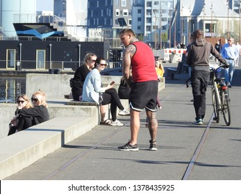 21st of April 2019 - Scene from Danish harbor with life on the quay, Aalborg, Denmark