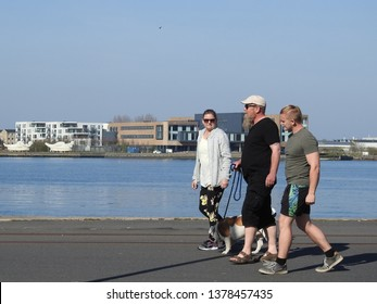 21st of April 2019 - Scene from a Danish port with group of people and a dog on the quay, Aalborg, Denmark