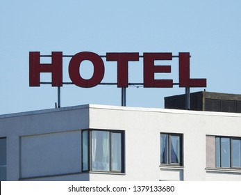 21st of April 2019 - Scene from Danish city with hotel sign on top of a building, Aalborg, Denmark