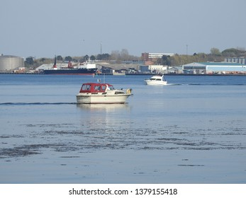 21st of April 2019 - Scene from a Danish fiord with boats, Aalborg, Denmark