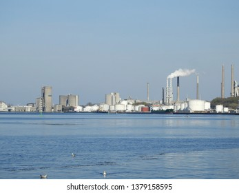 21st of April 2019 - Scene from a Danish port with view to an industrial skyline, Aalborg, Denmark