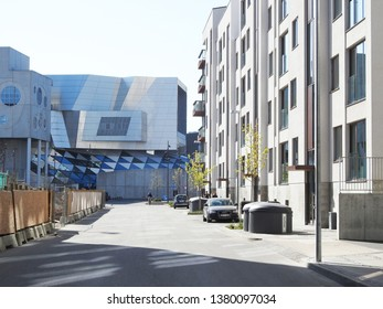 21st of April 2019 - Scene from a sunny street with view to Musikhuset The House of Music), Aalborg, Denmark