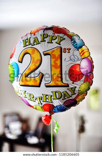 21st Birthday Balloon Stock Photo (Edit Now) 1185206605