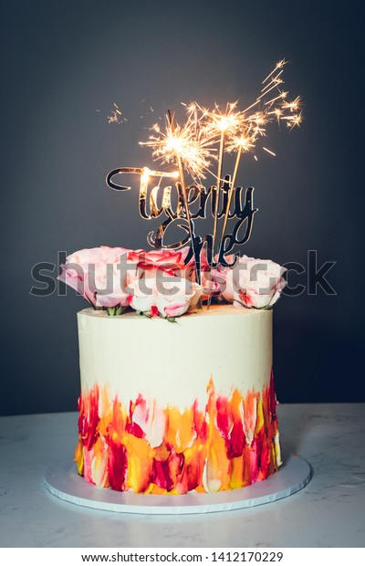 Astounding 21St Birthday Cake Colourful Light Stock Photo Edit Now 1412170229 Birthday Cards Printable Nowaargucafe Filternl