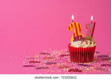 21st Birthday cupcake pink background