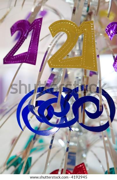 21st Birthday Table Decoration Stock Photo (Edit Now) 4192945