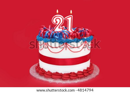 21st Cake With Numeral Candles On Vibrant Red Background A Special Birthday