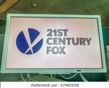 21ST Century Fox Company Logo on a PC Monitor in a Co-working Place in Milan,Italy-September 2018