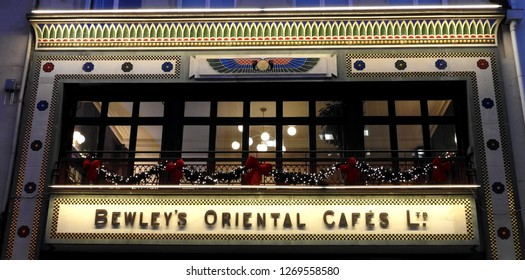 21st December 2018, Dublin. Exterior of Bewley's Cafe on Grafton Street during the Christmas period.