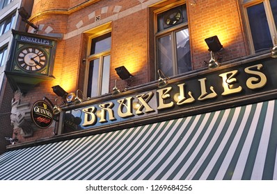 21st December 2018, Dublin. Iconic Bruxelles bar with an Irish heavy rock venue heritage, located in Harry Street, off Grafton Street.