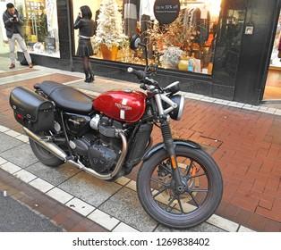 21st December 2018, Dublin. A Triumph motorbike parked off Grafton Street.