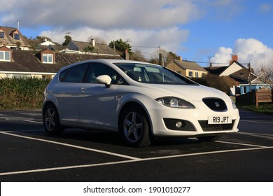 21st January 2021- A sporty looking, Seat Leon S Emocion Tdi, five door hatchback car, parked in the town carpark at Amroth, Pembrokeshire, Wales, UK.