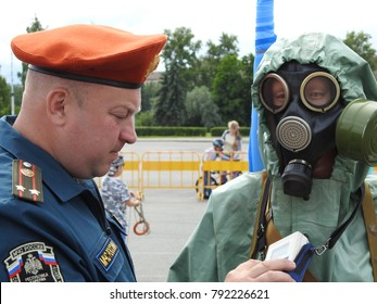 21st of July 2017 - Scene from demonstration of gas mask by an officer from the Russian Resque Corps MChS at a local event in Petrozavodsk, Russia