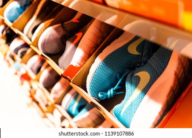 21st - July - 2018 - Freeport - Staffordshire, Rows of Nike trainers on display at the Nike store in Freeport