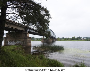 21st of July 2018 - Scene from Russian riverside with a big bridge across the water, Ust-Luga, Russia