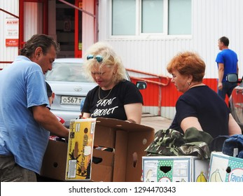 21st of July 2018 - Scene from Russian city with people at a market stall, Ust-Luga, Russia